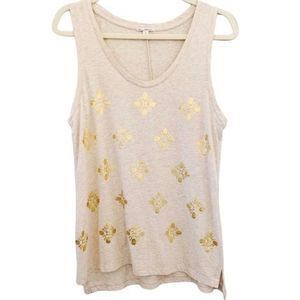 GAP tank top scoop neck oatmeal metallic gold M